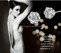 Fashion jewelry factory Pave diamond Flower 925 sterling silver earrings,silver women !! jewelry Decorations earring!! wholesale