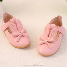 KS50118X Latest rabbit bowknot design solid color leather new model girls shoes