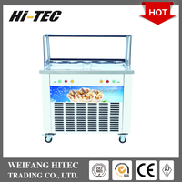 Hot Selling 2016 New Designed Thailand Fry Ice Cream Machine With Double Square Pan Five Holes