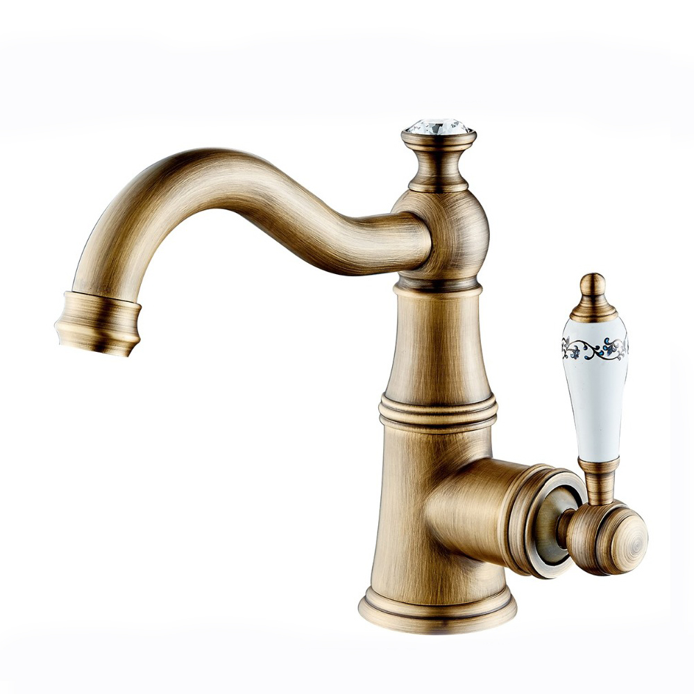 Cheap classic style single handle durable deck mounted modern bathroom brass wash basin faucet