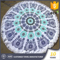 Turkish stock mandala printed terry cloth extra thick large circle round custom beach towel with tassel
