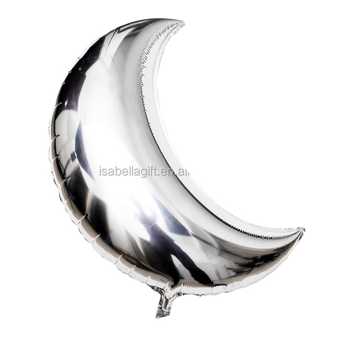 high quality silver color moon shape balloons 36 inch