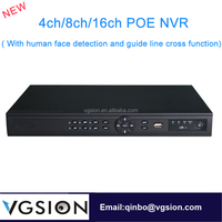 Intelligent H.264 16ch Standalone NVR POE Network DVR Cloud Server ONVIF P2P Human Face Detection And Guide Line Cross Function