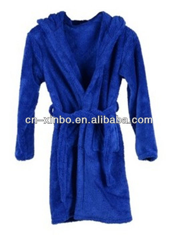 Kid's Fleece Bathrobe with Large Hood,Single Belt,& Two Pockets,Polyester