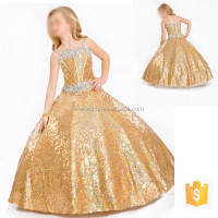 Amazing golden beautiful full of sequin fabric beaded sleeveless children dresses girls
