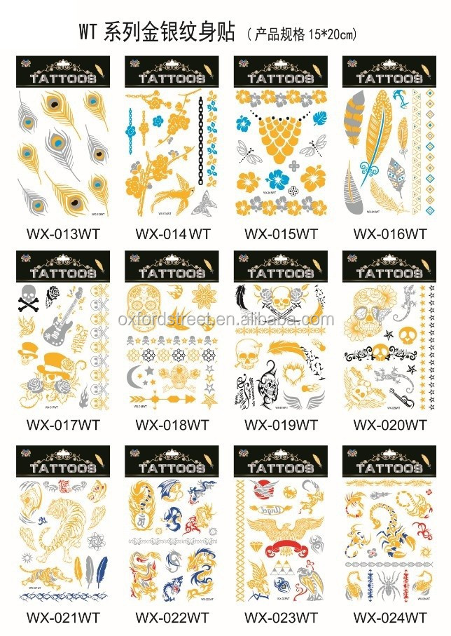 Foil Tattoo Gold Silver Metallic Temporary Tattoo