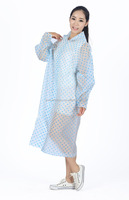 Transparent Fashionable Long Clear Raincoats for Women printed pvc raincoats