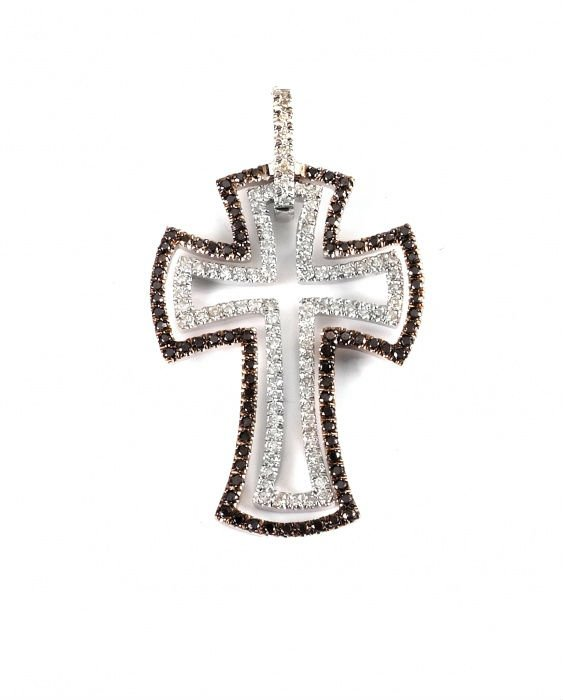 Amazing pendant cross, 14k White Gold with black and white genuine round cut Diamonds, 0.8 carat