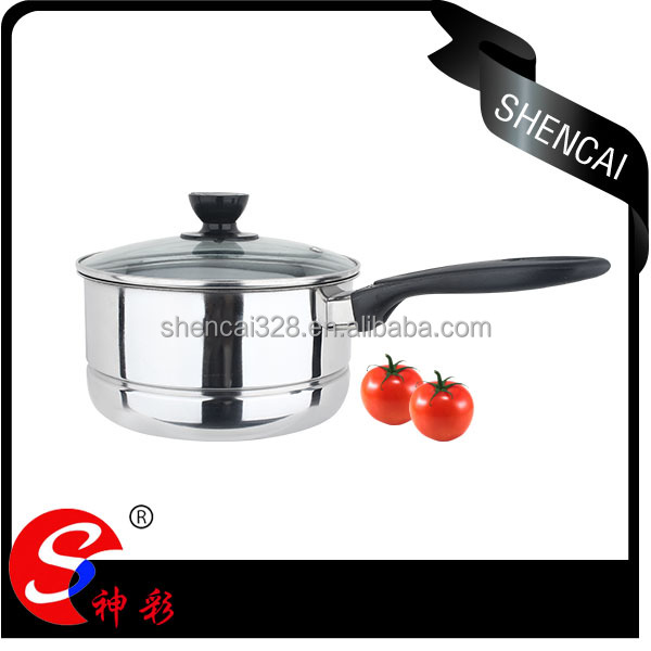steel milk pot /saucepan with steamer/ long handle stock pot