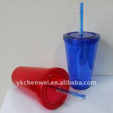 double wall plastic transparent travel drinking beer mugs with straws in Blue & red