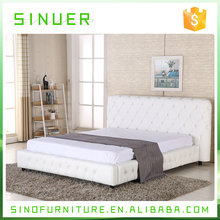 Bed room furniture modern wooden white leather king size bed manufacturer