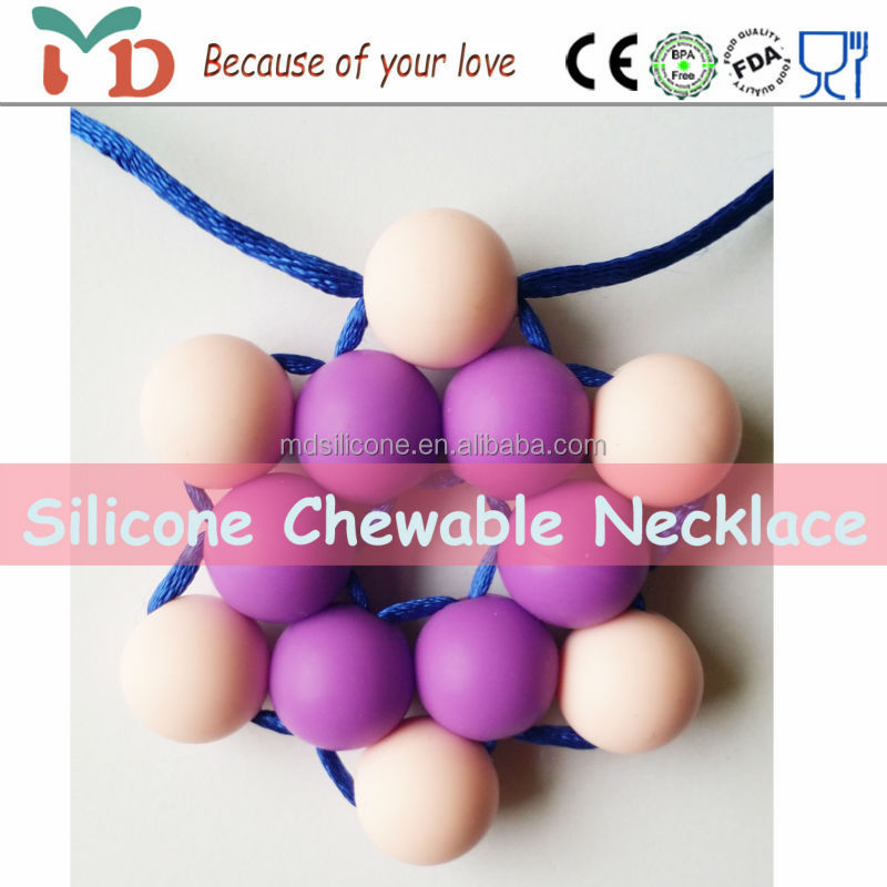 cheap fashion jewelry made in china autism sensory Necklace baby bling pendant teethers teething pop beads necklace