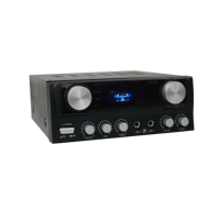 A 2x 50W stereo karaoke mini amplifier featuring inputs for DVD-, CD- and MP3 players