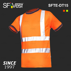 Europe EN 20471:2013 Class 2 100% Polyester Microfiber PPE Security Worker Cheap Safety Reflective Hi Vis Working Shirts T-Shirt