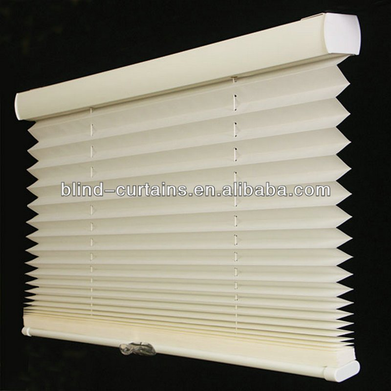 100% polyester white lace pleated fabric blind