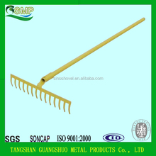 china steel grass sand garden rakes with wooden handle