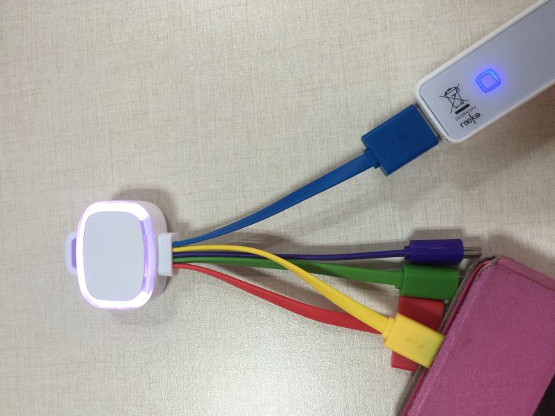 Multi USB Adapter Charging Cable Connectors usb date cord charger cable with LED Lightings