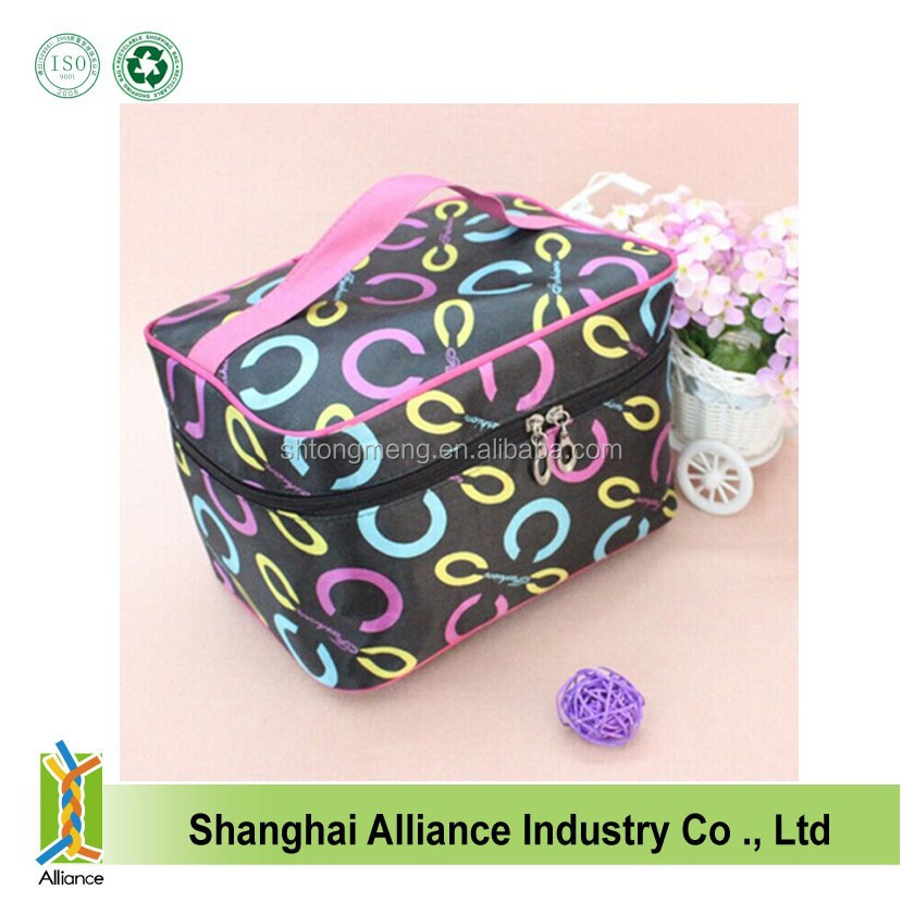 Fashion colorful printed make up bags/Multifunction cosmetic bags with mirror/Large compartment make up zipper bags