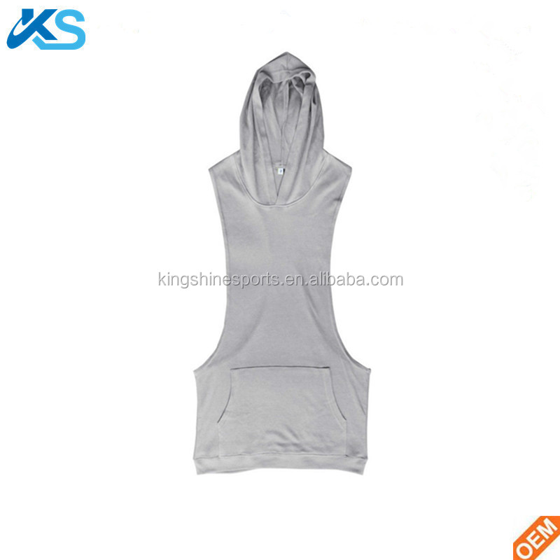 Wholesale plain mens gym hoodie Gym Clothing Bodybuilding Stringer Hoodie