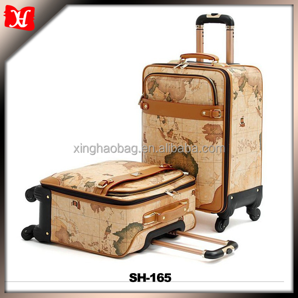 Large capacity business PU leather Multi-function trolley travel bag with beautiful printing art