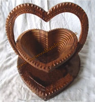 Heart Shape Engraved Wooden Spring Basket , Collapsible Wood Baskets For Storage