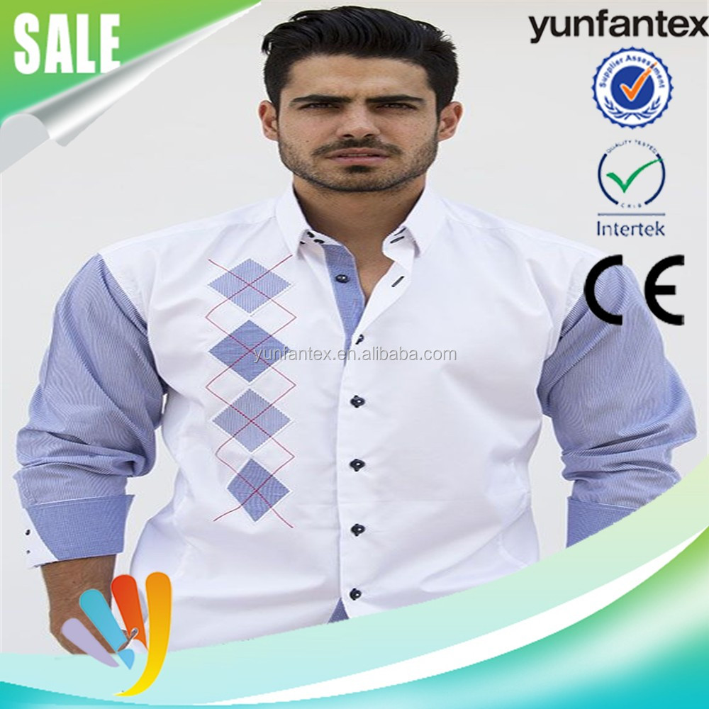 2016 latest fashion embroidered plaids shirt for men