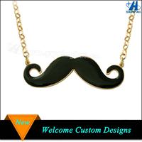 Gold Tone Black Enamel Mustache Pendant Necklace for Ladies Suit