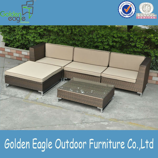 5pcs L-shape Sofa of golden rattan
