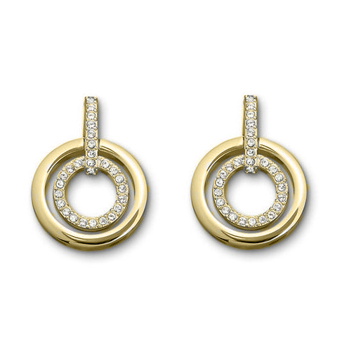 Double Circle Round Open Rose Gold Crystal Light earring stud