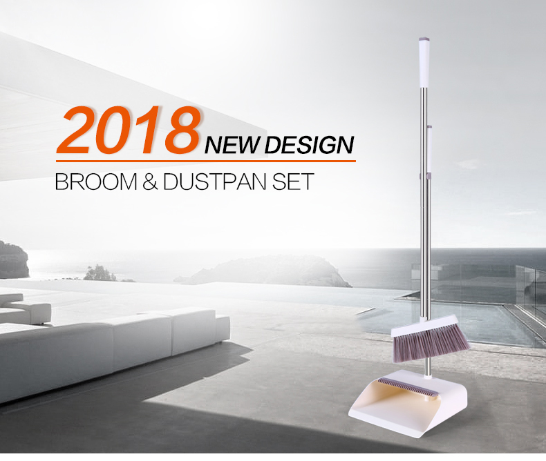 2018 TOPOTO Household Cleaning Windproof Plastic Material Long Handle Broom and Dustpan Set