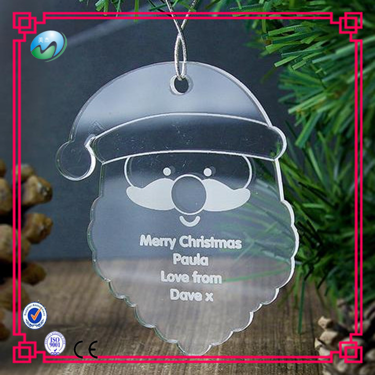 New products custom lovely shape clear acrylic Christmas ornaments for decorations