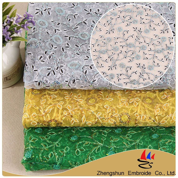 2017 Hot selling 100% polyester mesh silver lace sequins embroidery fabric