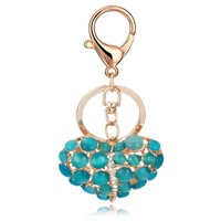 Elegant colorful heart keychain for women beautiful crystal keychain
