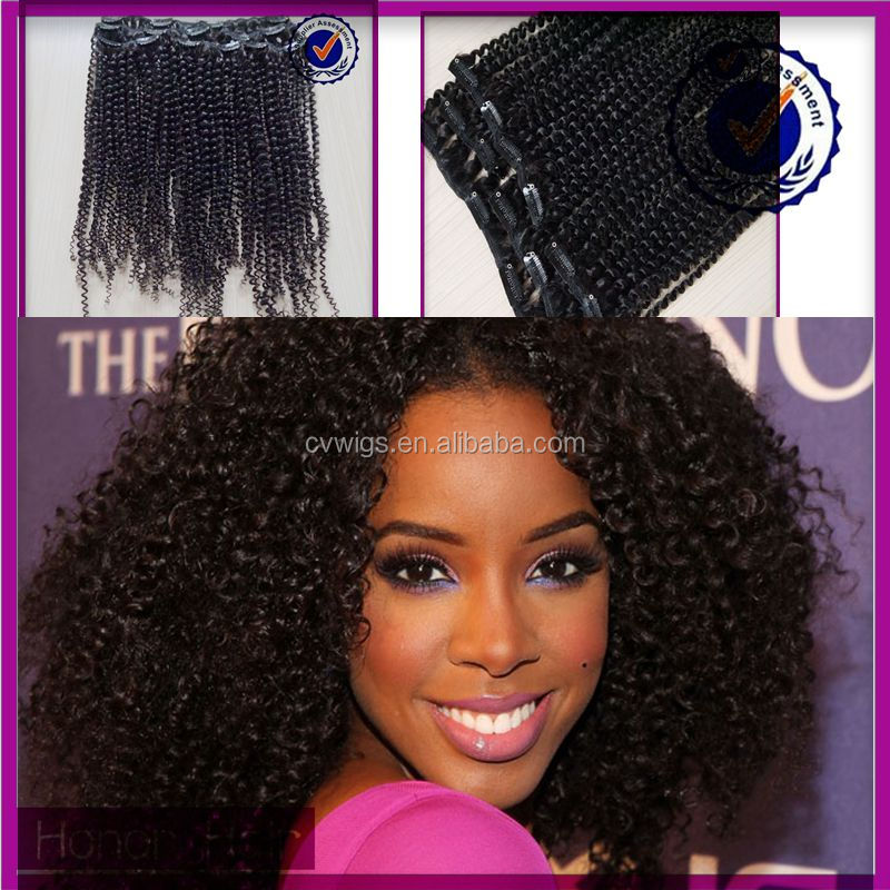 African American wholesale afro kinky curly clip in human hair extensions for black women