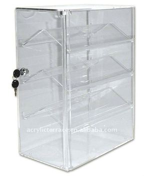 Double Sided Acrylic Display Case/Lockable 4 Tier Acrylic Showcase