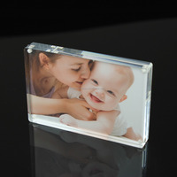 Economic Mini Clear Acrylic 5x7 Magnetic Acrylic Picture Block Photo Frame, Acrylic Photo Frame