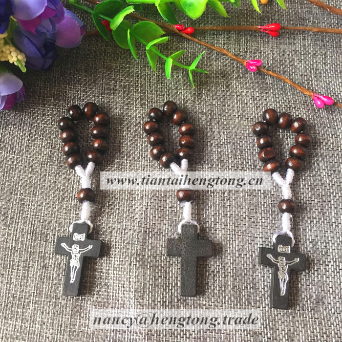 8mm bead wood rosary ring/ catholic ring/ religious rosary ring