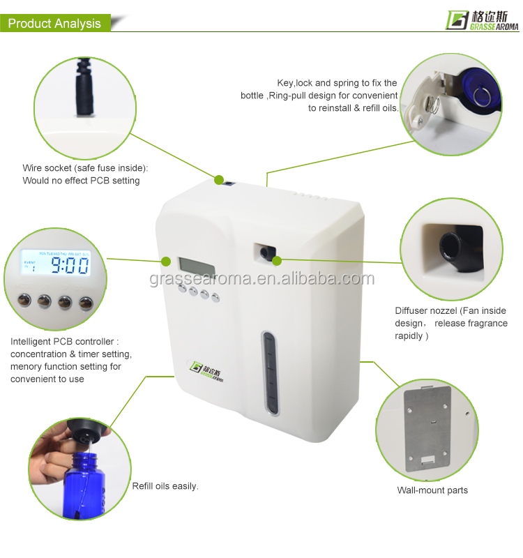 PP plastic cheap 120ml air aroma diffuser , electric scent oil machine with wall mounted used for stores