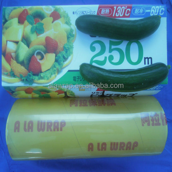 long meter stretch film/pvc cast super glossy plastic food wrap hot sale
