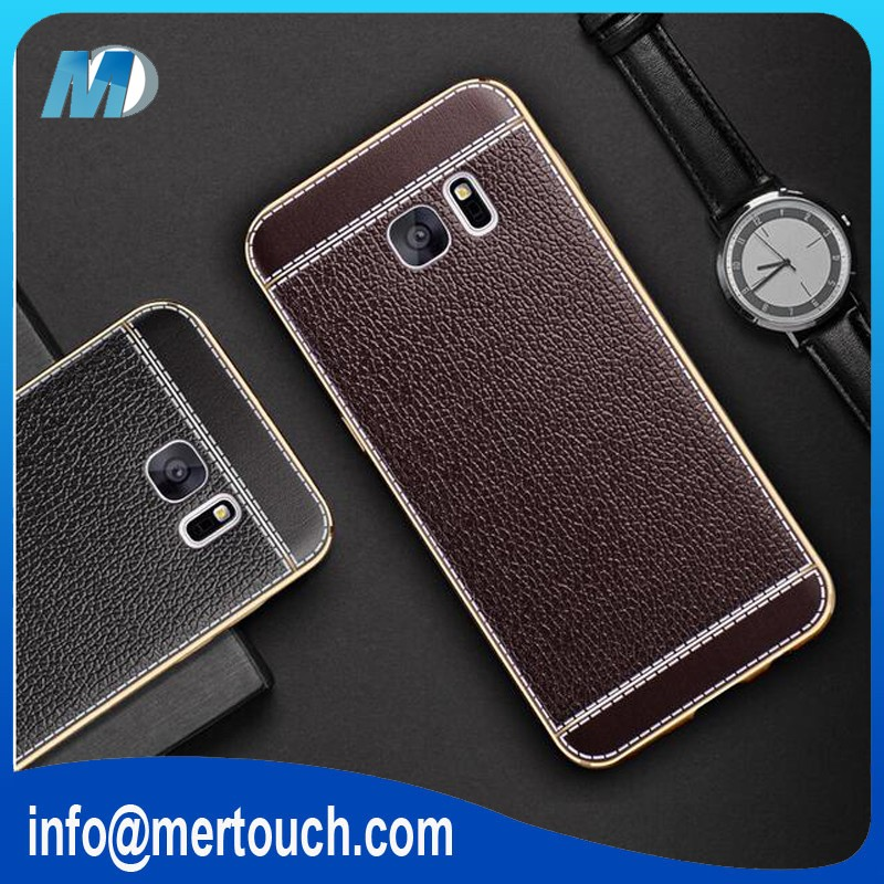 Electroplating TPU leather phone case for Samsung galaxy Note 7 offical classical black brown back cover