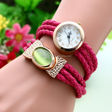 2016 Wristwatch Fashion Vogue Braided Belt Quartz Watch With Lucky Stone ,Winding Ladies Watches