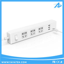 Smart 3 Outlets power strip surge protector with 3 USB Charging Ports for usb wall socket eu