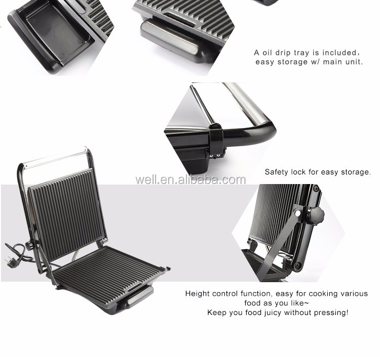 246134 Ningbo Contact Grill Panini grill chrome plate steak grill 2000W
