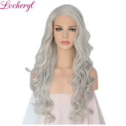Lvcheryl Natural Long White Silver Grey Color Body Wave Heat Resistant Hair Synthetic Lace Front Wigs For Women