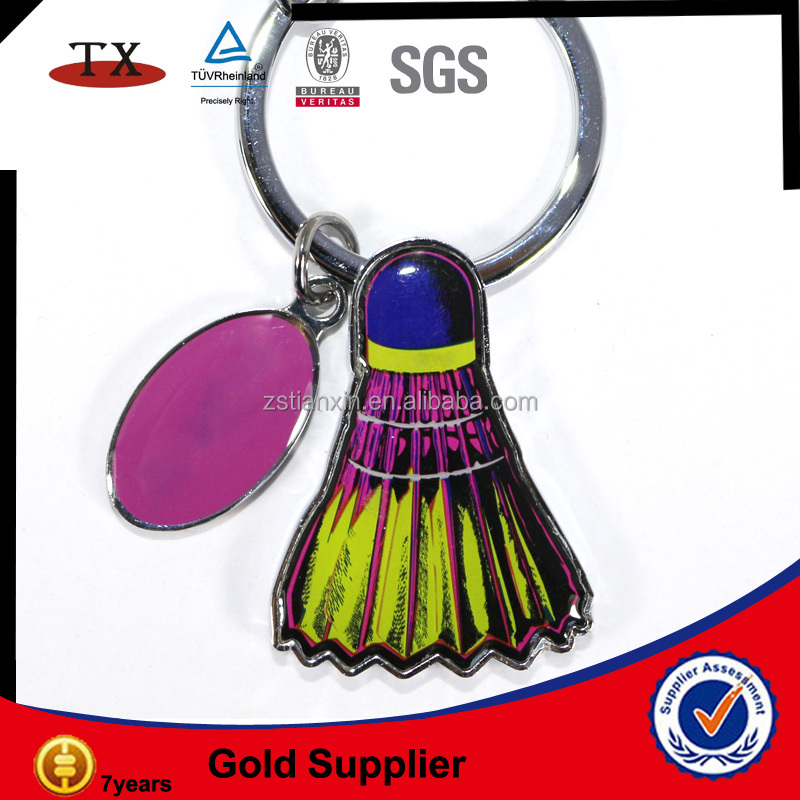 fashionable resin badminton american top quality souvenir keychain