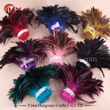 Wholesale price colorful Chicken feather cheap Rooster Saddle Feathers strung for DIY decoration accessories