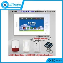 GSM wireless alarm home security system with 7inch touch screen, pet friendly PIR