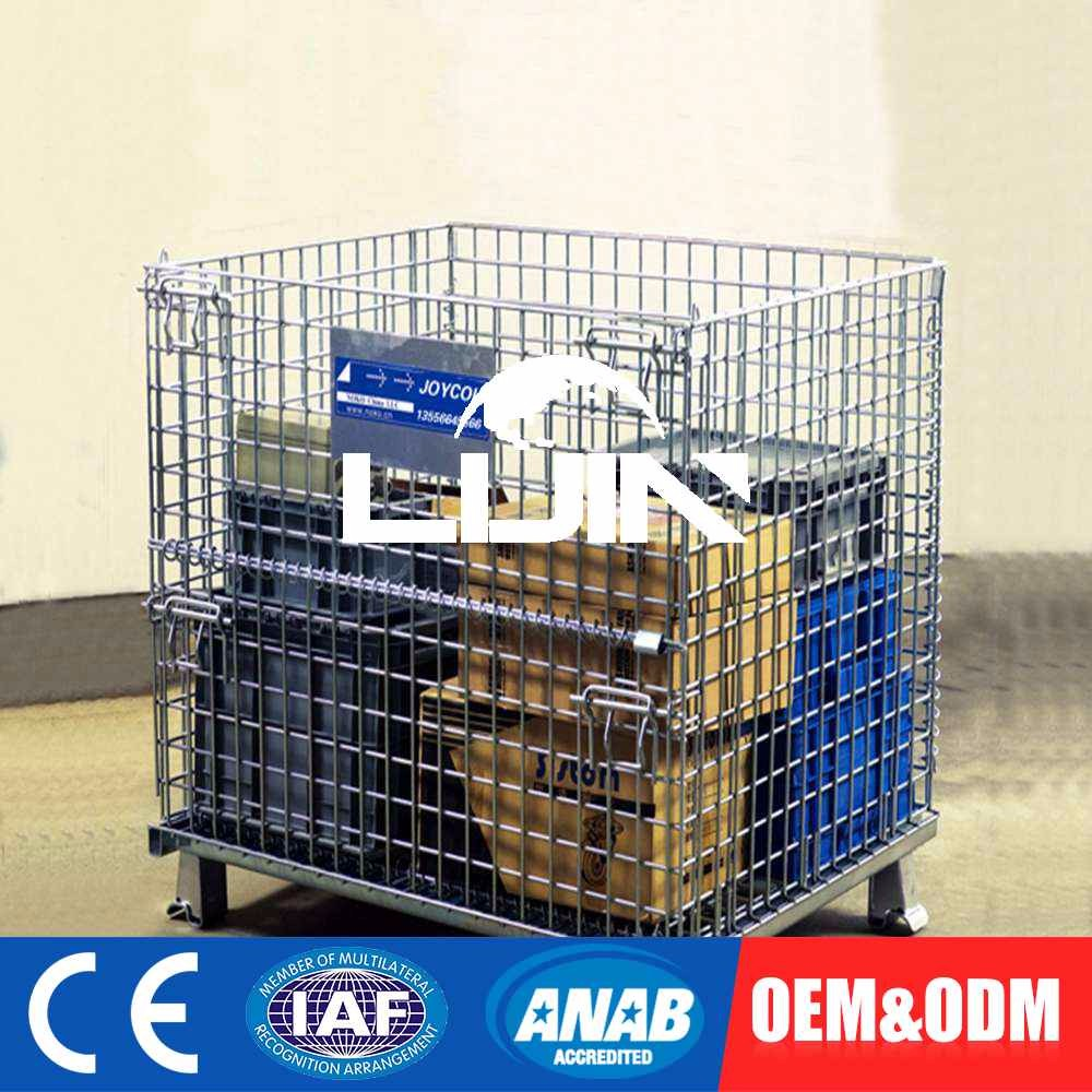 Custom Size Fold Gas Cylinder Stacked Wire Mesh Container Collapsible Storage Cage Rack