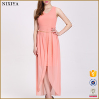 Peach Long Dress Chiffon New Style Sleeveless Neck Designs Pictures For Girls Dresses