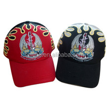 custom design flame embroidery hat and cap,woven baseball cap,brand baseball cap
